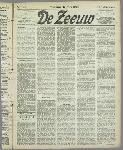De Zeeuw. Christelijk-historisch nieuwsblad voor Zeeland 1920-05-17