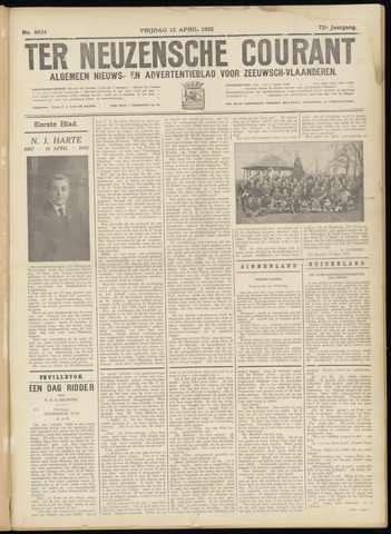 Ter Neuzensche Courant. Algemeen Nieuws- en Advertentieblad voor Zeeuwsch-Vlaanderen / Neuzensche Courant ... (idem) / (Algemeen) nieuws en advertentieblad voor Zeeuwsch-Vlaanderen 1932-04-15