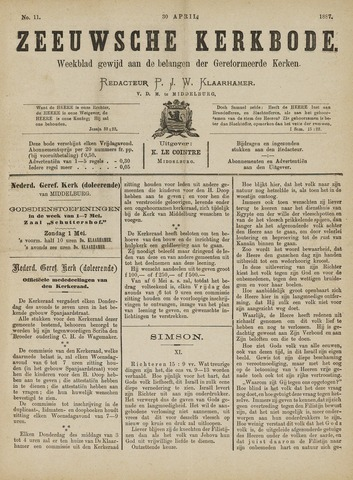 Zeeuwsche kerkbode, weekblad gewijd aan de belangen der gereformeerde kerken/ Zeeuwsch kerkblad 1887-04-30
