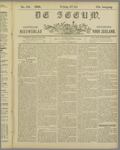 De Zeeuw. Christelijk-historisch nieuwsblad voor Zeeland 1906-07-27
