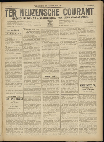 Ter Neuzensche Courant. Algemeen Nieuws- en Advertentieblad voor Zeeuwsch-Vlaanderen / Neuzensche Courant ... (idem) / (Algemeen) nieuws en advertentieblad voor Zeeuwsch-Vlaanderen 1931-09-30