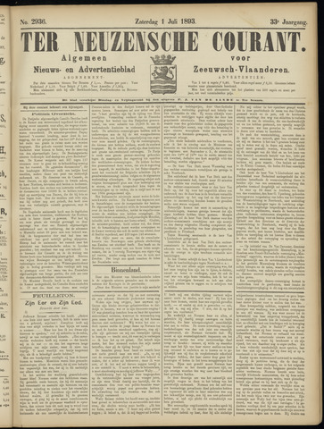 Ter Neuzensche Courant. Algemeen Nieuws- en Advertentieblad voor Zeeuwsch-Vlaanderen / Neuzensche Courant ... (idem) / (Algemeen) nieuws en advertentieblad voor Zeeuwsch-Vlaanderen 1893-07-01