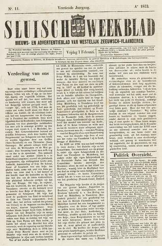 Sluisch Weekblad. Nieuws- en advertentieblad voor Westelijk Zeeuwsch-Vlaanderen 1873-02-07