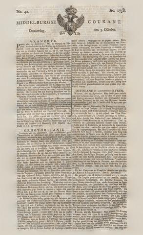 Middelburgsche Courant 1758-10-05