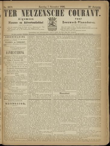 Ter Neuzensche Courant. Algemeen Nieuws- en Advertentieblad voor Zeeuwsch-Vlaanderen / Neuzensche Courant ... (idem) / (Algemeen) nieuws en advertentieblad voor Zeeuwsch-Vlaanderen 1896-11-07