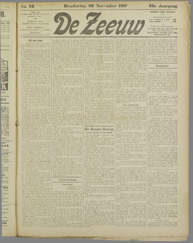 De Zeeuw. Christelijk-historisch nieuwsblad voor Zeeland 1917-11-29