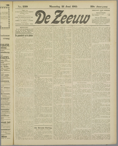 De Zeeuw. Christelijk-historisch nieuwsblad voor Zeeland 1915-06-21