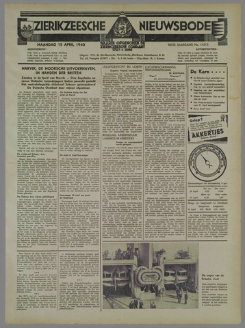 Zierikzeesche Nieuwsbode 1940-04-15