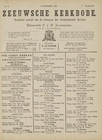 Zeeuwsche kerkbode, weekblad gewijd aan de belangen der gereformeerde kerken/ Zeeuwsch kerkblad 1888-12-22