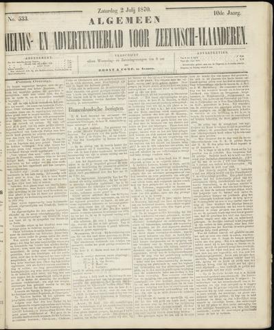 Ter Neuzensche Courant. Algemeen Nieuws- en Advertentieblad voor Zeeuwsch-Vlaanderen / Neuzensche Courant ... (idem) / (Algemeen) nieuws en advertentieblad voor Zeeuwsch-Vlaanderen 1870-07-02