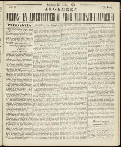 Ter Neuzensche Courant. Algemeen Nieuws- en Advertentieblad voor Zeeuwsch-Vlaanderen / Neuzensche Courant ... (idem) / (Algemeen) nieuws en advertentieblad voor Zeeuwsch-Vlaanderen 1872-10-12