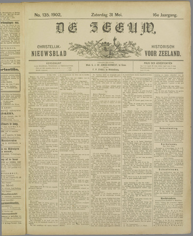 De Zeeuw. Christelijk-historisch nieuwsblad voor Zeeland 1902-05-31
