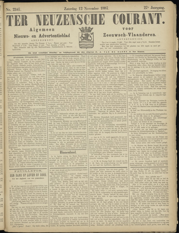 Ter Neuzensche Courant. Algemeen Nieuws- en Advertentieblad voor Zeeuwsch-Vlaanderen / Neuzensche Courant ... (idem) / (Algemeen) nieuws en advertentieblad voor Zeeuwsch-Vlaanderen 1887-11-12