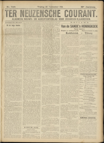 Ter Neuzensche Courant. Algemeen Nieuws- en Advertentieblad voor Zeeuwsch-Vlaanderen / Neuzensche Courant ... (idem) / (Algemeen) nieuws en advertentieblad voor Zeeuwsch-Vlaanderen 1921-11-25