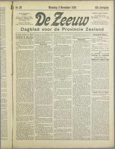 De Zeeuw. Christelijk-historisch nieuwsblad voor Zeeland 1930-11-03