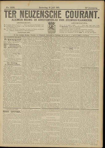 Ter Neuzensche Courant. Algemeen Nieuws- en Advertentieblad voor Zeeuwsch-Vlaanderen / Neuzensche Courant ... (idem) / (Algemeen) nieuws en advertentieblad voor Zeeuwsch-Vlaanderen 1915-07-31