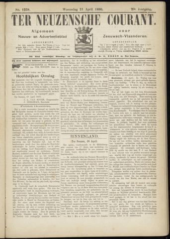 Ter Neuzensche Courant. Algemeen Nieuws- en Advertentieblad voor Zeeuwsch-Vlaanderen / Neuzensche Courant ... (idem) / (Algemeen) nieuws en advertentieblad voor Zeeuwsch-Vlaanderen 1880-04-21