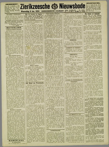 Zierikzeesche Nieuwsbode 1924-01-09