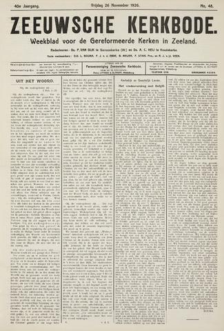 Zeeuwsche kerkbode, weekblad gewijd aan de belangen der gereformeerde kerken/ Zeeuwsch kerkblad 1926-11-26