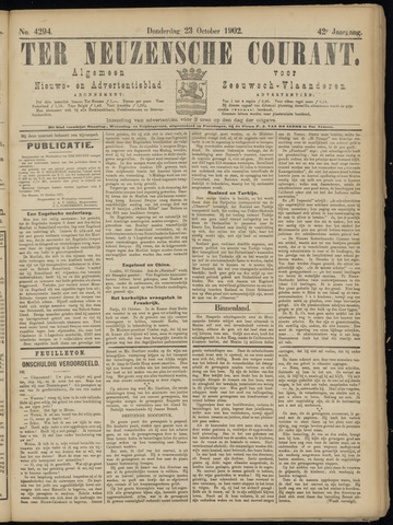Ter Neuzensche Courant. Algemeen Nieuws- en Advertentieblad voor Zeeuwsch-Vlaanderen / Neuzensche Courant ... (idem) / (Algemeen) nieuws en advertentieblad voor Zeeuwsch-Vlaanderen 1902-10-23