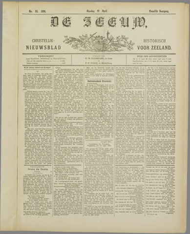 De Zeeuw. Christelijk-historisch nieuwsblad voor Zeeland 1898-04-19