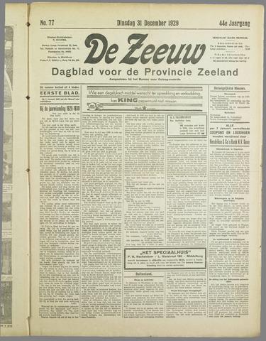 De Zeeuw. Christelijk-historisch nieuwsblad voor Zeeland 1929-12-31