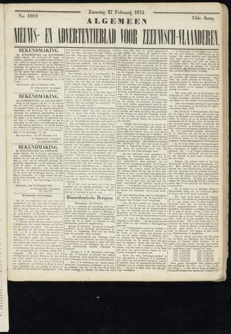 Ter Neuzensche Courant. Algemeen Nieuws- en Advertentieblad voor Zeeuwsch-Vlaanderen / Neuzensche Courant ... (idem) / (Algemeen) nieuws en advertentieblad voor Zeeuwsch-Vlaanderen 1875-02-27