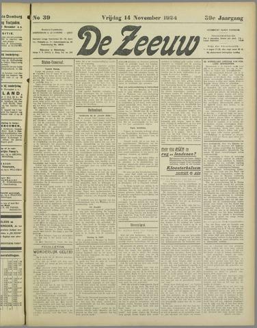 De Zeeuw. Christelijk-historisch nieuwsblad voor Zeeland 1924-11-14