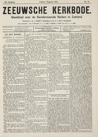 Zeeuwsche kerkbode, weekblad gewijd aan de belangen der gereformeerde kerken/ Zeeuwsch kerkblad 1924-08-01