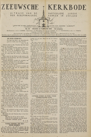 Zeeuwsche kerkbode, weekblad gewijd aan de belangen der gereformeerde kerken/ Zeeuwsch kerkblad 1946-02-22