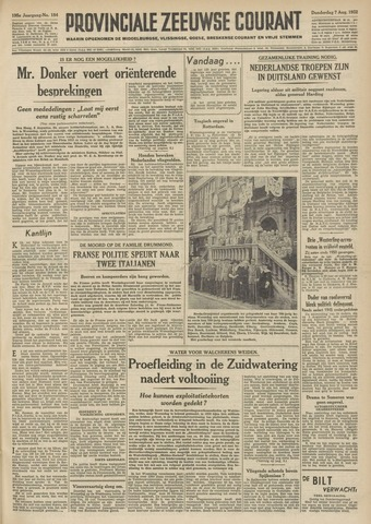 Provinciale Zeeuwse Courant 1952-08-07