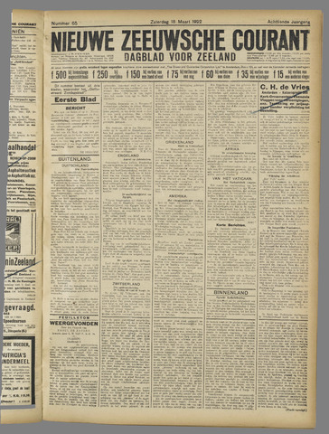 Nieuwe Zeeuwsche Courant 1922-03-18
