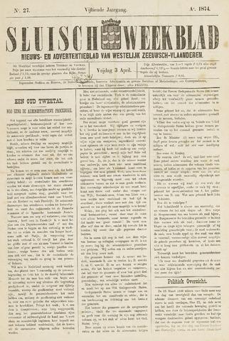Sluisch Weekblad. Nieuws- en advertentieblad voor Westelijk Zeeuwsch-Vlaanderen 1874-04-03