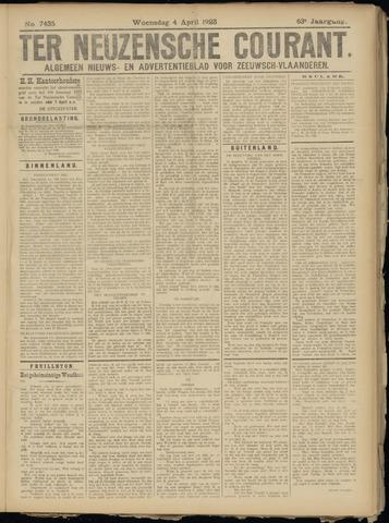 Ter Neuzensche Courant. Algemeen Nieuws- en Advertentieblad voor Zeeuwsch-Vlaanderen / Neuzensche Courant ... (idem) / (Algemeen) nieuws en advertentieblad voor Zeeuwsch-Vlaanderen 1923-04-04