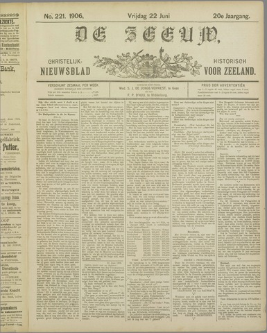 De Zeeuw. Christelijk-historisch nieuwsblad voor Zeeland 1906-06-22