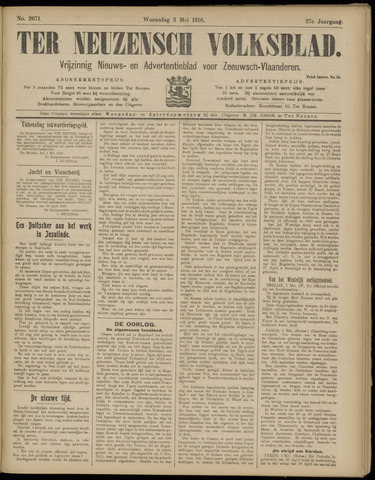 Ter Neuzensch Volksblad. Vrijzinnig nieuws- en advertentieblad voor Zeeuwsch- Vlaanderen / Zeeuwsch Nieuwsblad. Nieuws- en advertentieblad voor Zeeland 1916-05-03