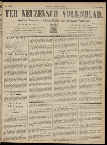 Ter Neuzensch Volksblad. Vrijzinnig nieuws- en advertentieblad voor Zeeuwsch- Vlaanderen / Zeeuwsch Nieuwsblad. Nieuws- en advertentieblad voor Zeeland 1911-02-25