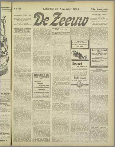 De Zeeuw. Christelijk-historisch nieuwsblad voor Zeeland 1924-11-22