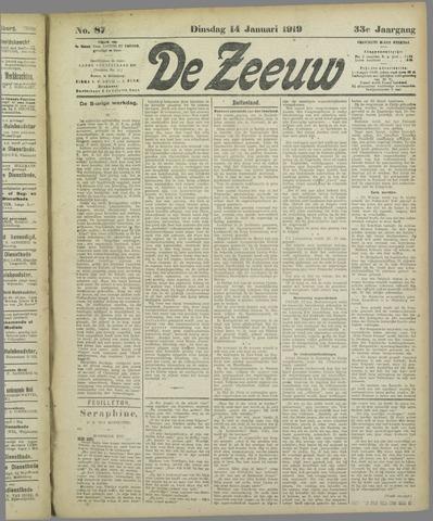 De Zeeuw. Christelijk-historisch nieuwsblad voor Zeeland 1919-01-14