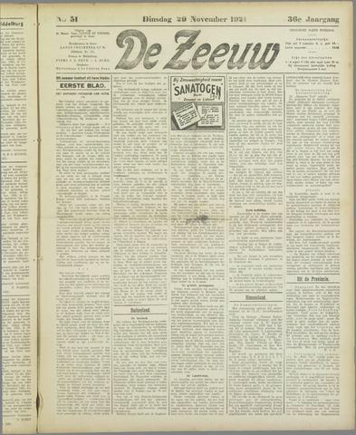 De Zeeuw. Christelijk-historisch nieuwsblad voor Zeeland 1921-11-29