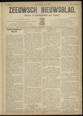 Ter Neuzensch Volksblad. Vrijzinnig nieuws- en advertentieblad voor Zeeuwsch- Vlaanderen / Zeeuwsch Nieuwsblad. Nieuws- en advertentieblad voor Zeeland 1918-04-24