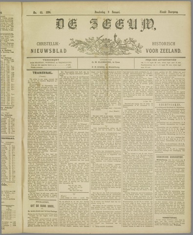 De Zeeuw. Christelijk-historisch nieuwsblad voor Zeeland 1896-01-09