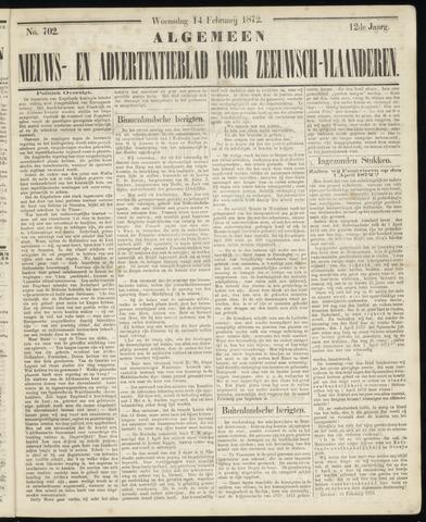 Ter Neuzensche Courant. Algemeen Nieuws- en Advertentieblad voor Zeeuwsch-Vlaanderen / Neuzensche Courant ... (idem) / (Algemeen) nieuws en advertentieblad voor Zeeuwsch-Vlaanderen 1872-02-14