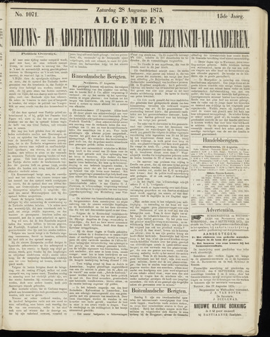 Ter Neuzensche Courant. Algemeen Nieuws- en Advertentieblad voor Zeeuwsch-Vlaanderen / Neuzensche Courant ... (idem) / (Algemeen) nieuws en advertentieblad voor Zeeuwsch-Vlaanderen 1875-08-28