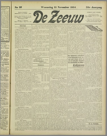 De Zeeuw. Christelijk-historisch nieuwsblad voor Zeeland 1924-11-12