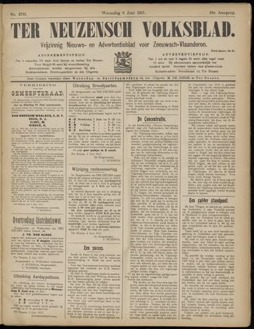 Ter Neuzensch Volksblad. Vrijzinnig nieuws- en advertentieblad voor Zeeuwsch- Vlaanderen / Zeeuwsch Nieuwsblad. Nieuws- en advertentieblad voor Zeeland 1917-06-06