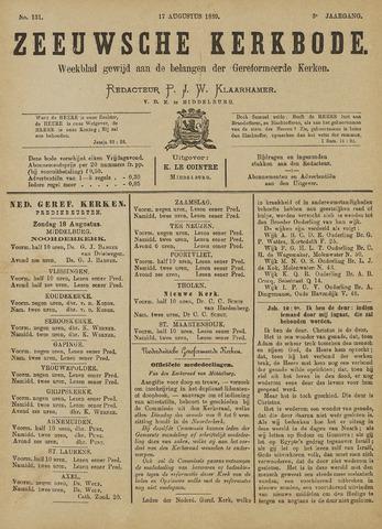 Zeeuwsche kerkbode, weekblad gewijd aan de belangen der gereformeerde kerken/ Zeeuwsch kerkblad 1889-08-17
