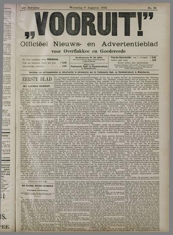 """""""Vooruit!""""Officieel Nieuws- en Advertentieblad voor Overflakkee en Goedereede 1916-08-09"""