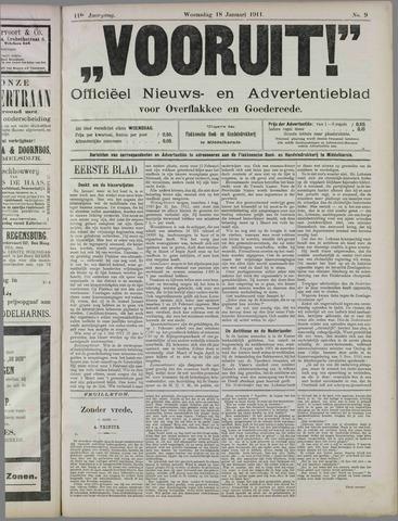"""""""Vooruit!""""Officieel Nieuws- en Advertentieblad voor Overflakkee en Goedereede 1911-01-18"""