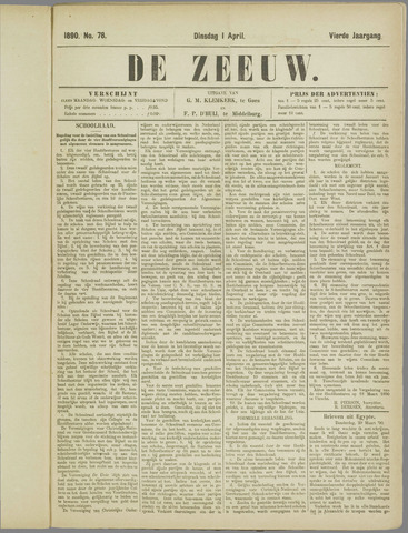 De Zeeuw. Christelijk-historisch nieuwsblad voor Zeeland 1890-04-01